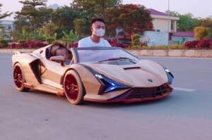 wooden replica of Lamborghini